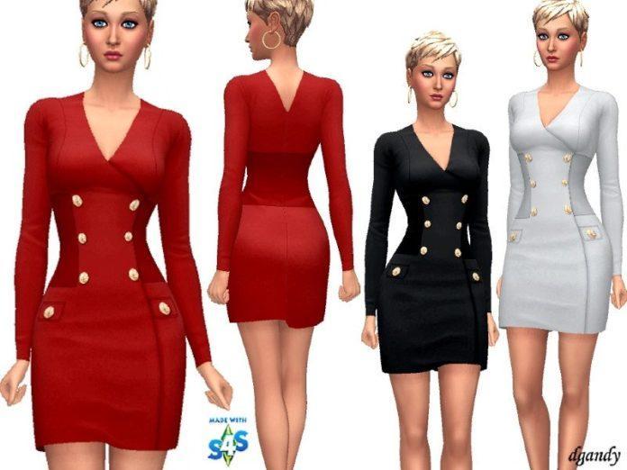 Платье с запАхом от dgandy для Sims 4