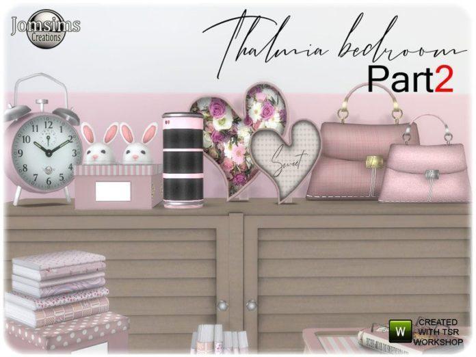 Набор декора для спальни Thalmia от jomsims для Sims 4