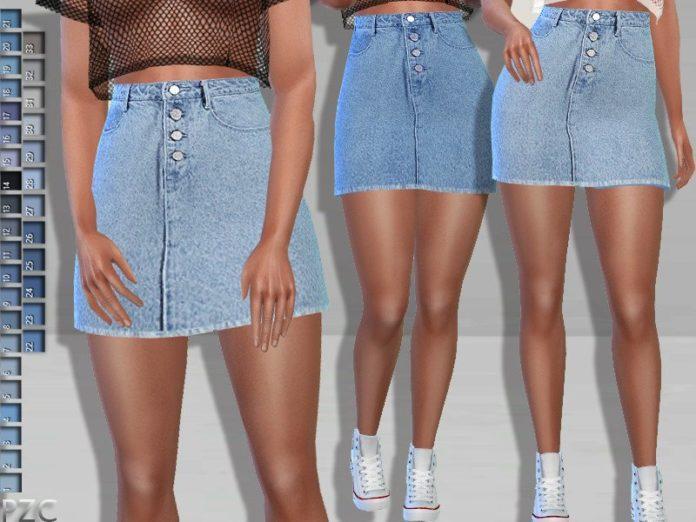 Джинсовая юбка от Pinkzombiecupcakes для Sims 4