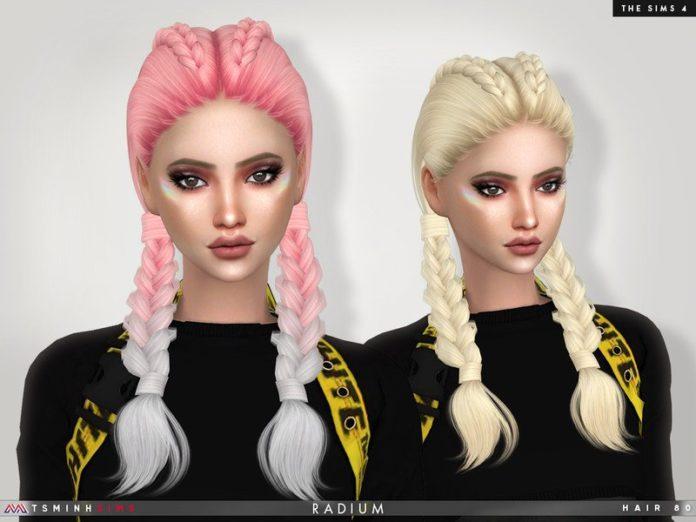 Две косички Radium от TsminhSims для Sims 4