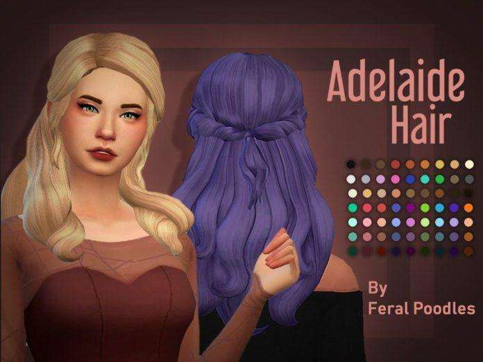 Прическа Аделаида от feralpoodles для Sims 4