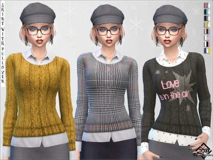 Рубашка со свитеромот Devirose для Sims 4