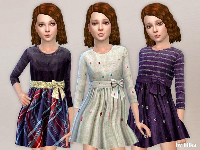 Дизайнерское платье для девочек от lilka для Sims 4