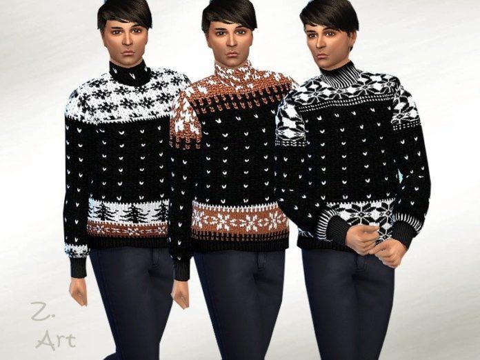 Мужской свитер с зимними узорами от Zuckerschnute20 для Sims 4