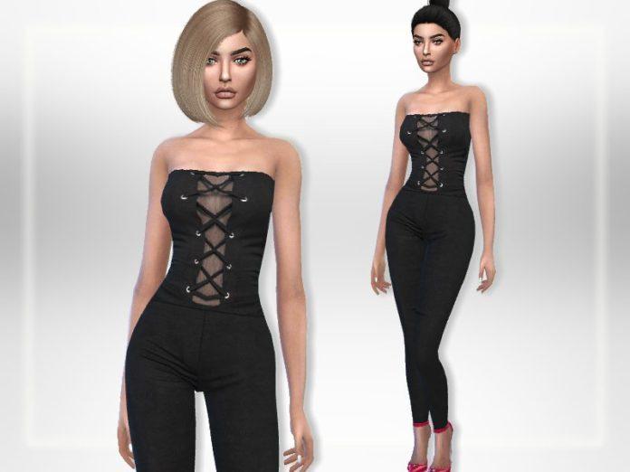 Черный комбинезон с открытыми плечами от Puresim для Sims 4