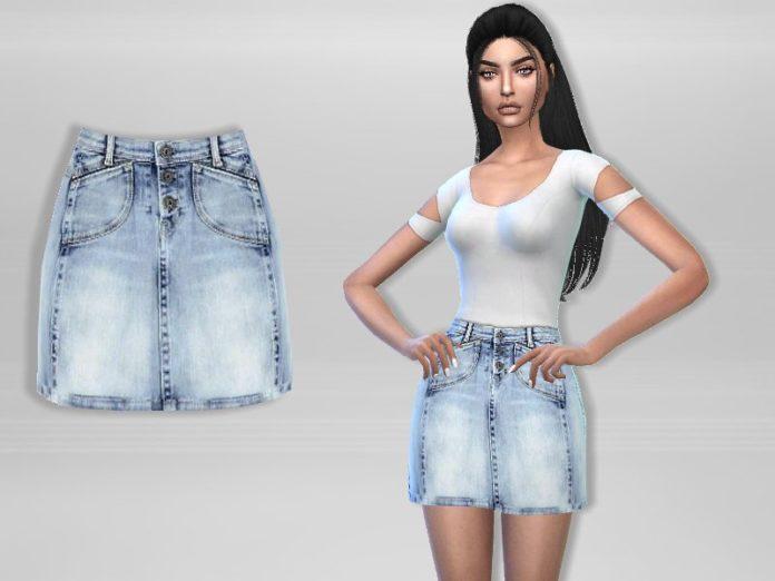 Джинсовая юбка от Puresim для Sims 4