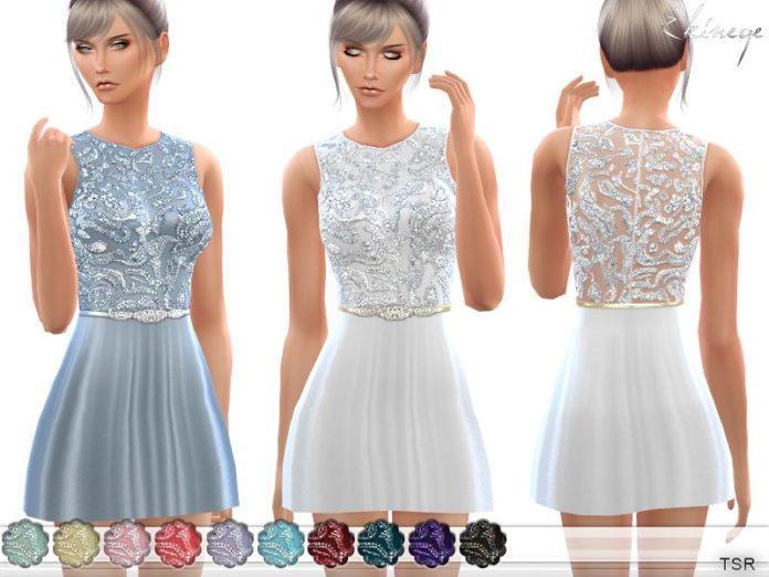 Расшитое бисером мини-платье от ekinege для Sims 4