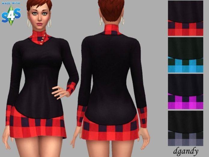 Платье с клетчатыми вставками от dgandy для Sims 4
