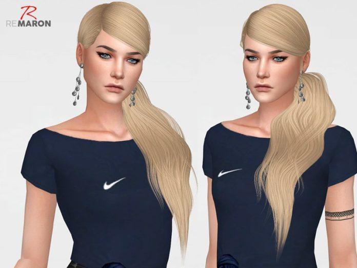 Длинный хвост на левом плече от remaron для Sims 4