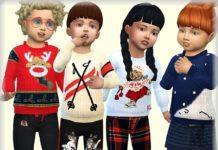 Детский зимний свитер с рисунком от bukovka для Sims 4
