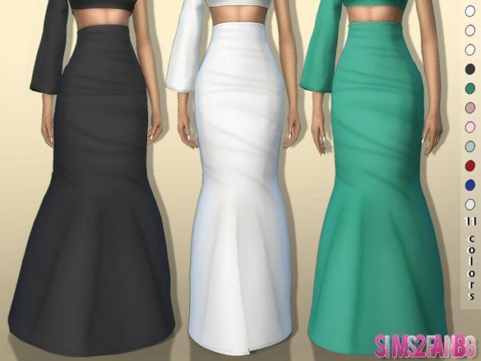Длинна юбка с высокой посадкой от sims2fanbg для Sims 4
