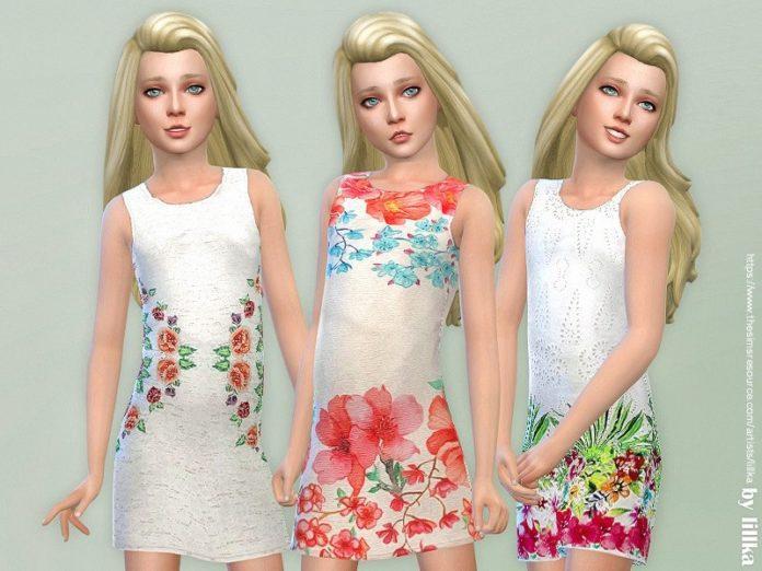 Детское платье с цветами от lillka для Sims 4