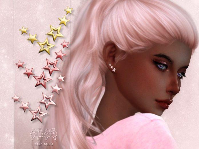 Серьги в форме звездочек от 4w25 Sims для Sims 4
