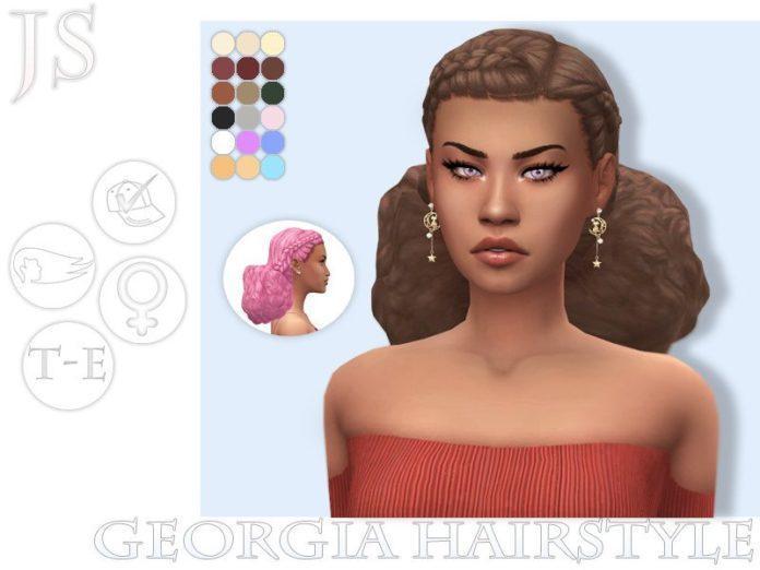 Женская прическа Georgia от JavaSims для Sims 4