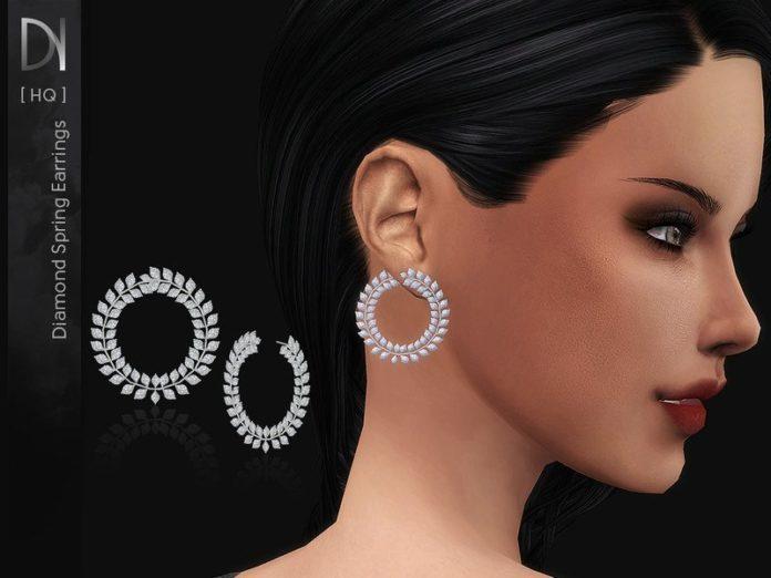 Весенние серьги с бриллиантами от DarkNighTt для Sims 4