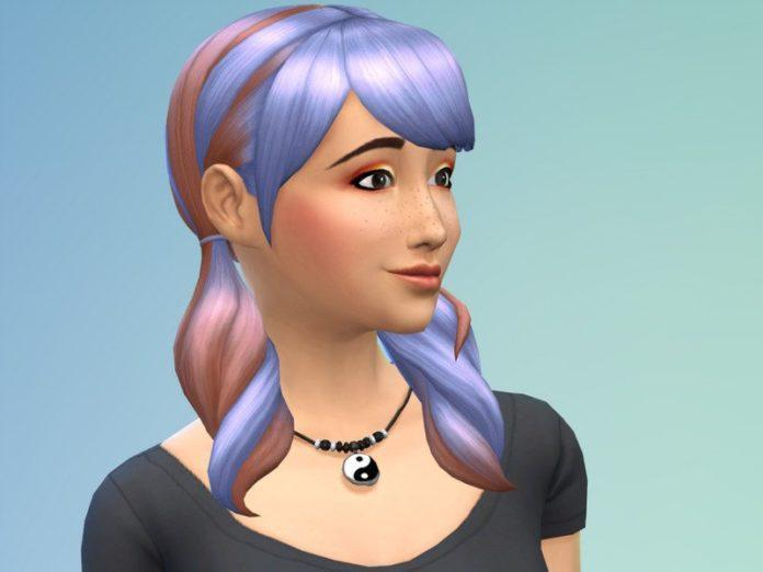 Хвостики с цветными прядями от JujuAwesomeBeans для Sims 4