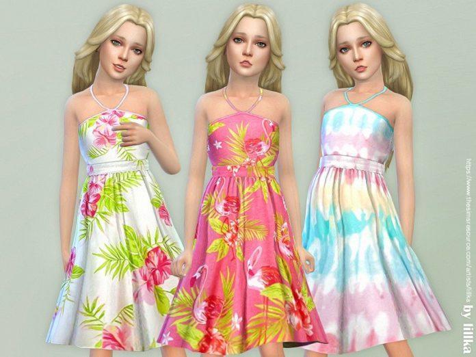 Сарафан с яркими принтами от lilka для Sims 4