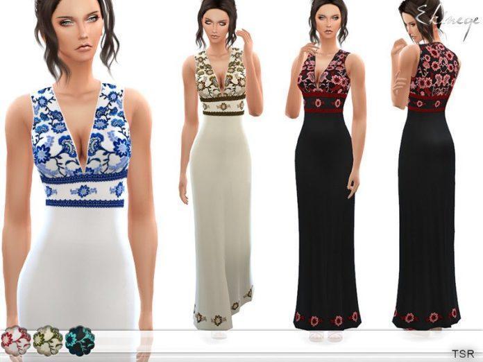 Длинное платье с вышивкой от ekinege для Sims 4
