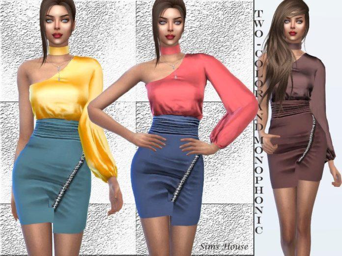 Платье с одним рукавом от Sims House для Sims 4