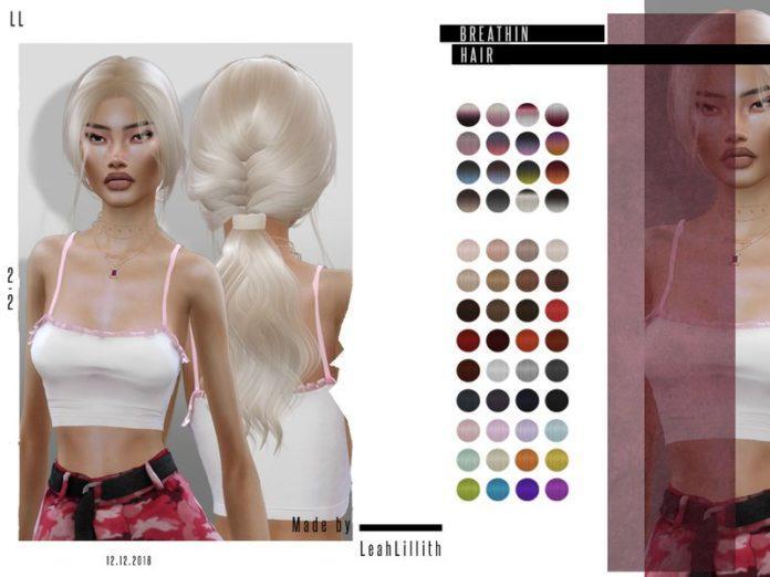 Женская прическа Breathin Hair от LeahLillith для Sims 4