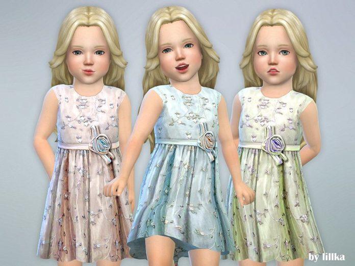 Детское платье с вышивкой и розой от lillka для Sims 4
