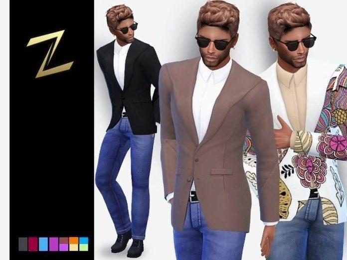 Мужской жакет с джинсами от ZitaRossouw для Sims 4