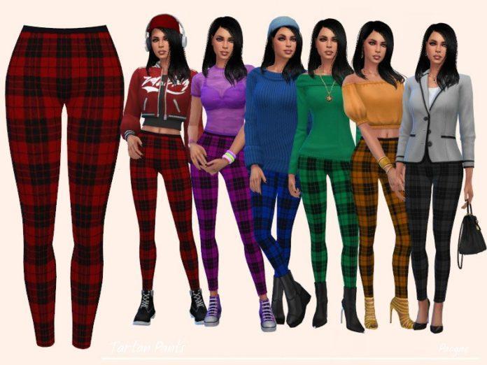 Клетчатые легинсы от Paogae для Sims 4