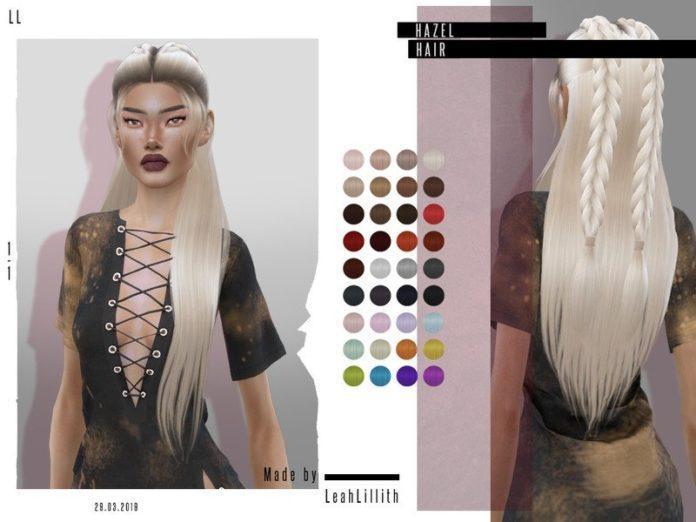 Две косички с длинными волосами от Leah Lillith для Sims 4