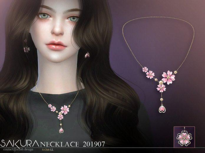 Колье Сакура от S-Club для Sims 4