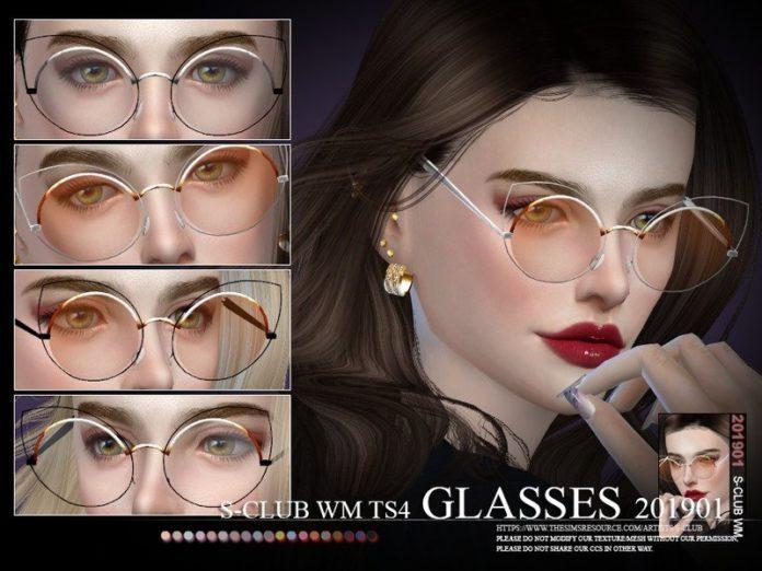Круглые очки с дополнительной оправой от S-Club для Sims 4