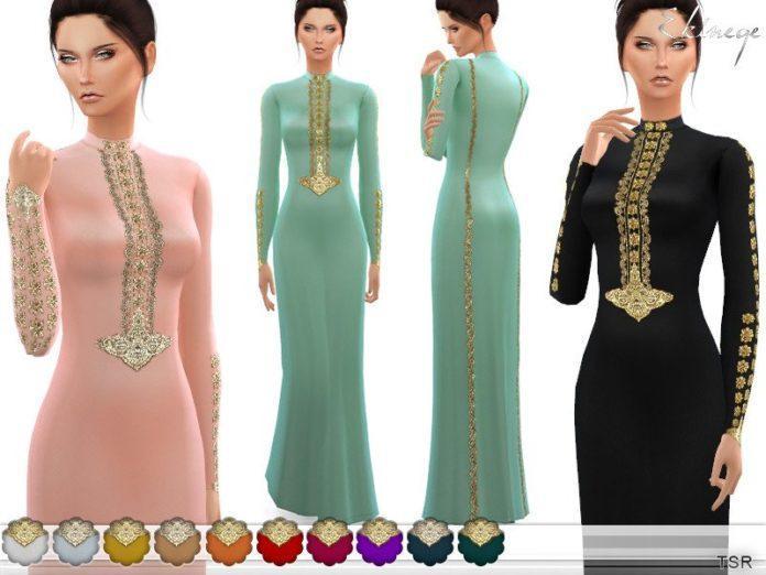 Расшитое длинное платье от ekinege для Sims 4