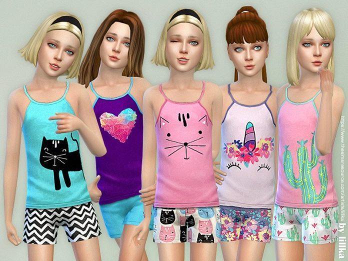 Летние майки для девочек от lillka для Sims 4