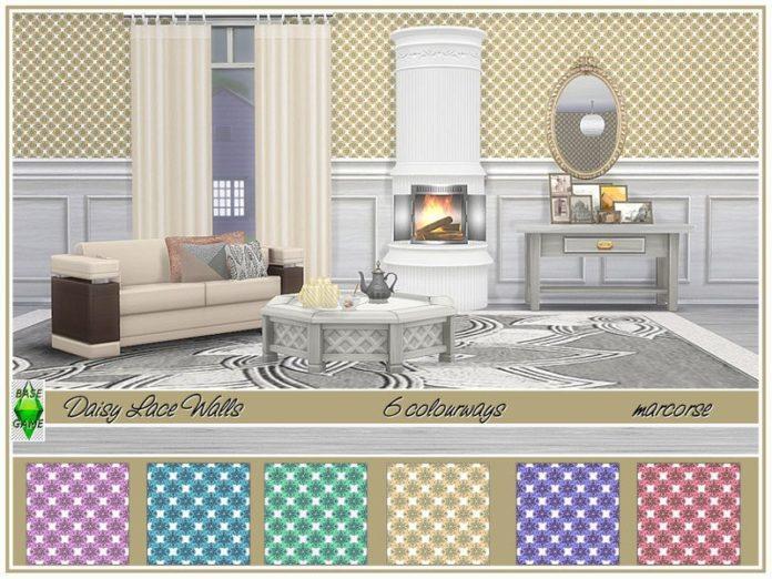 Обои с цветами от marcorse для Sims 4