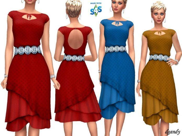 Скачать Платье с многоуровневой юбкой от dgandy для Sims 4