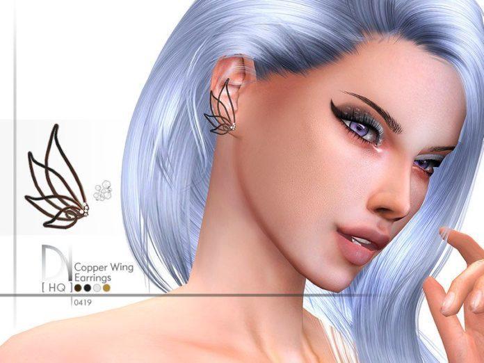 Медные серьги в форме крыльев от DarkNighTt для Sims 4