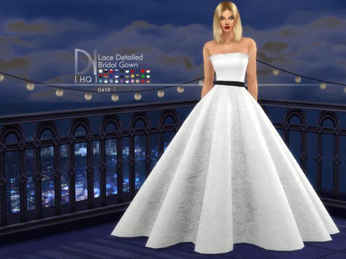 Кружевное свадебное платье от DarkNighTt для Sims 4