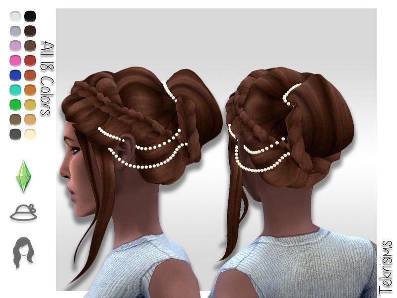 Высокая прическа с пучком Nadia от TekriSims для Sims 4