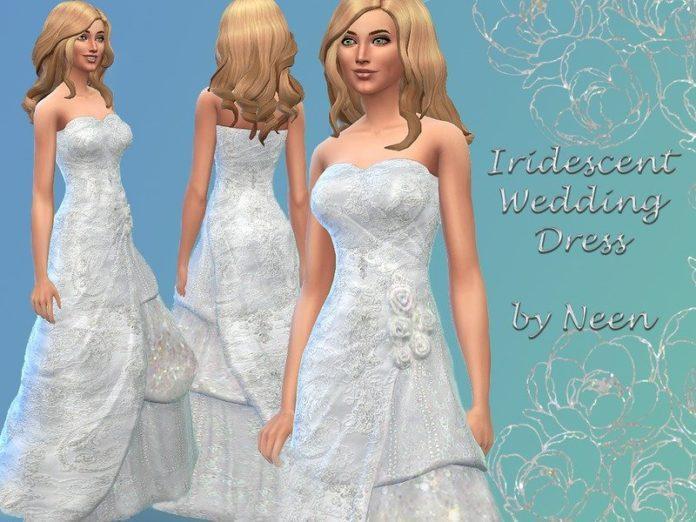 Переливающееся свадебное платье от neenornina для Sims 4