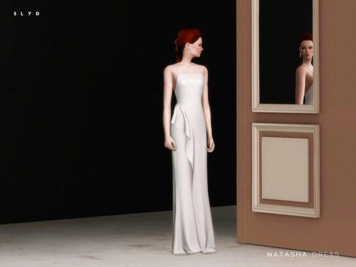 Атласное вечернее платье Natasha от SLYD для Sims 4