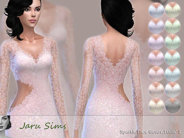 Кружевное вечернее платье от Jaru Sims для Sims 4