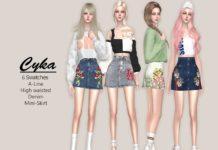 Джинсовая мини юбка от Helsoseira для Sims 4