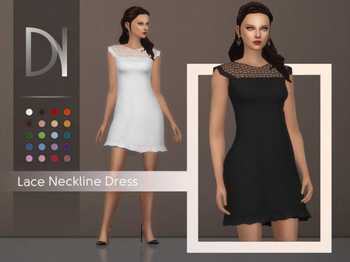 Платье с кружевной вставкой на груди от DarkNighTt для Sims 4