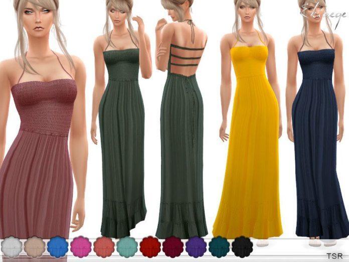 Шелковый длинный сарафан от ekinege для Sims 4