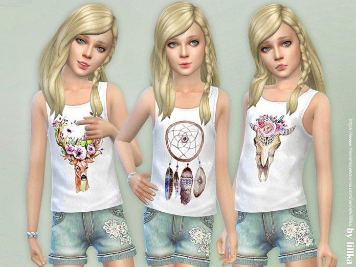 Майки для девочек в стиле Бохо от lillka для Sims 4