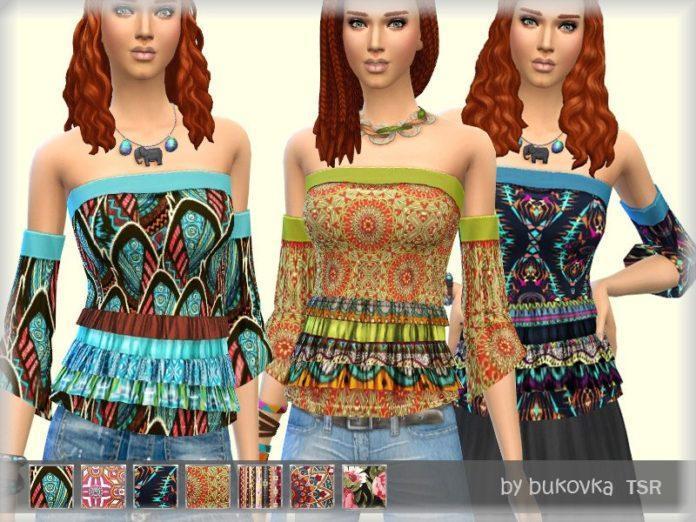 Топ с открытыми плечами БОХО от bukovka для Sims 4