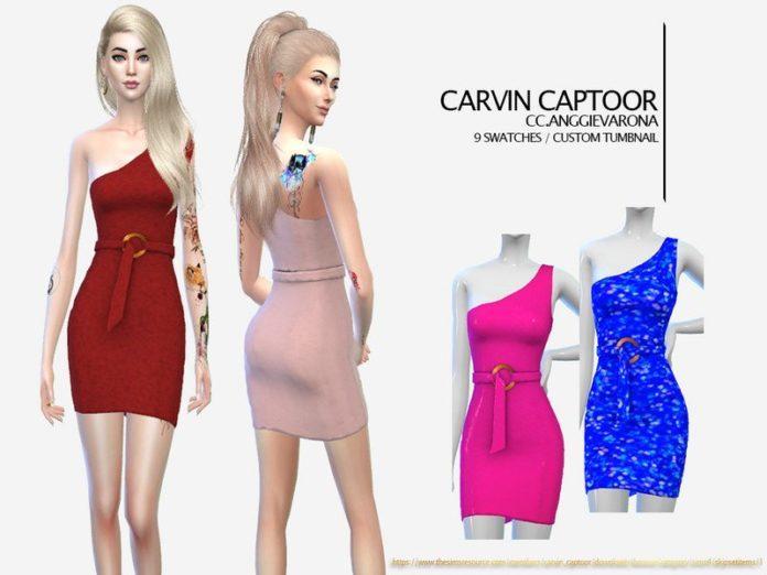 Платье на одно плечо от carvin captoor для Sims 4