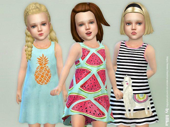 Детский сарафан с фруктами от lillka для Sims 4
