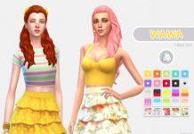 Трехъярусная юбка Wawa от nueajaa для Sims 4