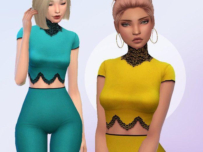 Топ и легинсы Chandelier от Saruin для Sims 4