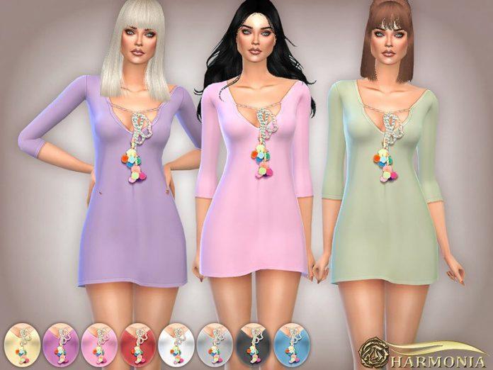Короткое платье с помпонами от Harmonia для Sims 4